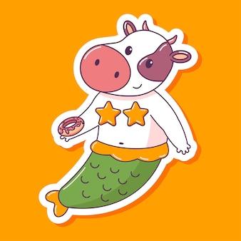 Mucca sveglia della sirena con il carattere animale del fumetto della ciambella isolato