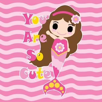 Cute ragazza sirena ciao hello on rosa vettore sfondo a righe di sfondo, cartolina di bambini, carta da parati e biglietto di auguri, design t-shirt per i bambini