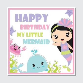 Cute ragazza sirena e creature del mare cornice per biglietto d'auguri