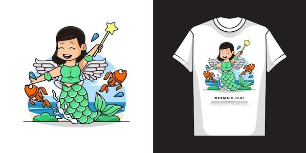 Ragazza carina sirena che indossa un costume da angelo con design mockup di t-shirt