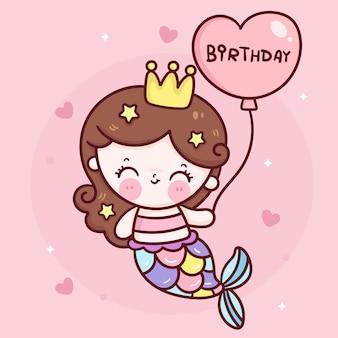 Fumetto sveglio della principessa della sirena che tiene il pallone di compleanno del cuore per l'illustrazione di kawaii del partito