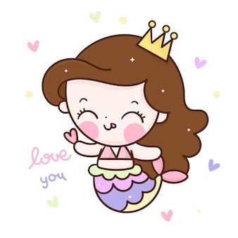 Vettore sveglio della principessa sirena che tiene il carattere di kawaii del fumetto del mini cuore
