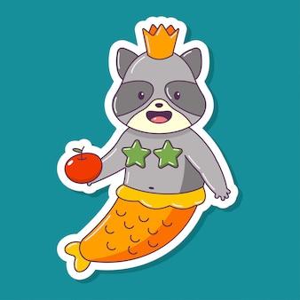 Procione carino sirena con personaggio dei cartoni animati di mela animale isolato su uno sfondo bianco.