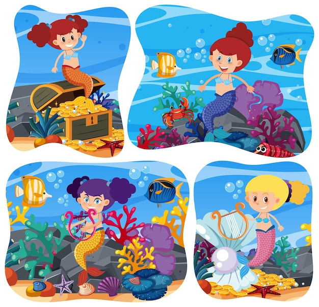 Sirena carina in sottofondo subacqueo