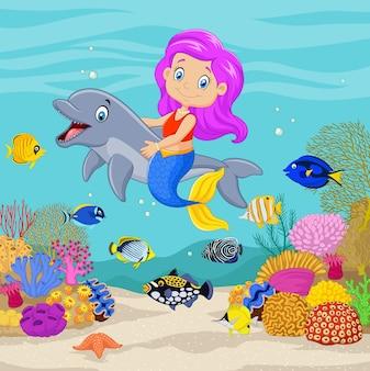 Sirena sveglia con delfino sullo sfondo subacqueo