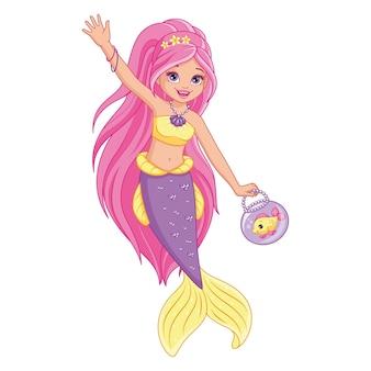 Sirena carina con illustrazione di pesce isolato