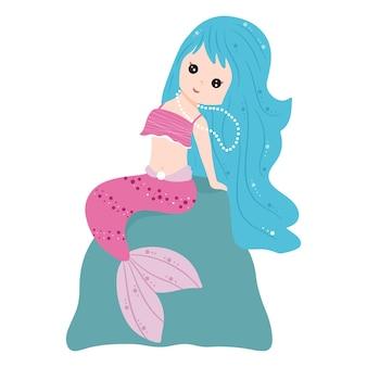 Simpatica sirena con i capelli lunghi. illustrazione vettoriale per libri per bambini, cartoline, inviti. sfondo bianco isolato, stile cartone animato.