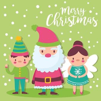 Cartolina di buon natale sveglia con disegno dell'illustrazione di babbo natale, elfo e fata madrina