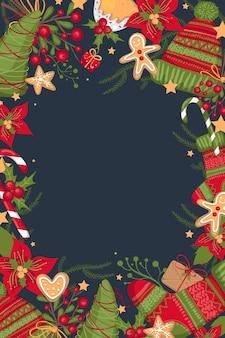 Simpatici biglietti di auguri di buon natale e felice anno nuovo. modello di manifesto per le vacanze disegnato a mano, design da cartolina. illustrazione vettoriale eps 10. inserisci il tuo testo.