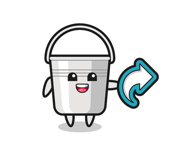 Simpatico secchio di metallo per contenere il simbolo di condivisione dei social media, design in stile carino per t-shirt, adesivo, elemento logo