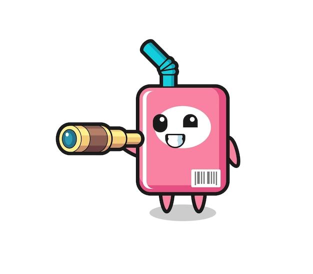 Il simpatico personaggio della scatola del latte tiene in mano un vecchio telescopio, un design in stile carino per maglietta, adesivo, elemento logo