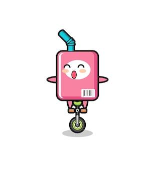 Il simpatico personaggio della scatola del latte sta cavalcando una bici da circo, un design in stile carino per maglietta, adesivo, elemento logo