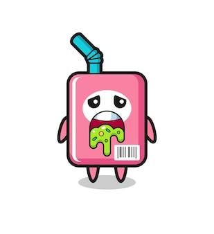 Il simpatico personaggio della scatola del latte con vomito, design in stile carino per maglietta, adesivo, elemento logo