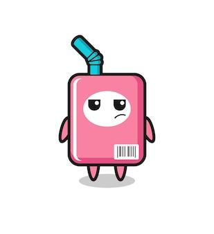 Simpatico personaggio della scatola del latte con espressione sospettosa, design in stile carino per maglietta, adesivo, elemento logo