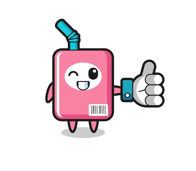 Simpatica scatola del latte con simbolo del pollice in alto dei social media, design in stile carino per t-shirt, adesivo, elemento logo