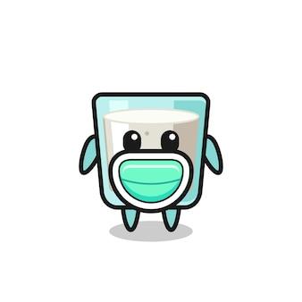 Simpatico cartone animato di latte che indossa una maschera, design in stile carino per maglietta, adesivo, elemento logo