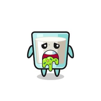 Il simpatico personaggio del latte con vomito, design in stile carino per maglietta, adesivo, elemento logo