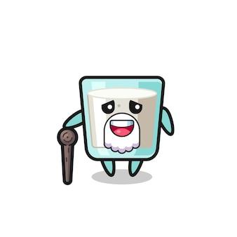 Il simpatico nonno del latte tiene in mano un bastone, un design in stile carino per maglietta, adesivo, elemento logo