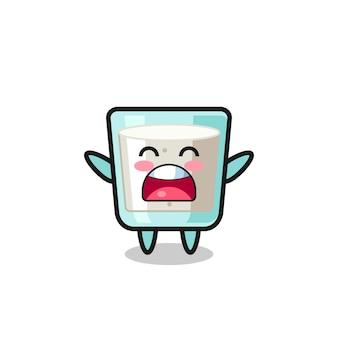Simpatica mascotte del latte con un'espressione di sbadiglio, design in stile carino per maglietta, adesivo, elemento logo