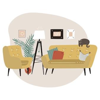 Interni minimalisti carini con mobili moderni della metà del secolo. divano giallo, poltrona, lampada da terra treppiede e palma. interni scandinavi alla moda. illustrazione piatta.