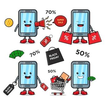 Simpatico telefono cellulare con l'icona del fumetto della mascotte dell'evento del venerdì nero in stile cartone animato piatto