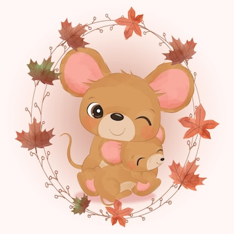 Simpatico topo mamma e bambino illustrazione in acquerello