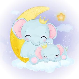 Illustrazione sveglia della mamma e del bambino elefante in acquerello