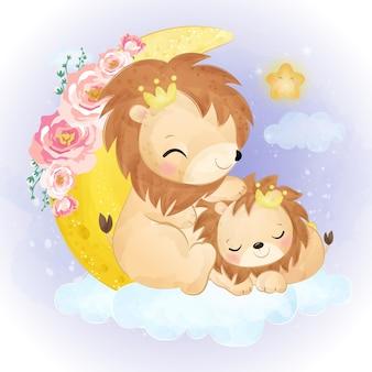 Illustrazione sveglia di mamma e bambino leone in acquerello