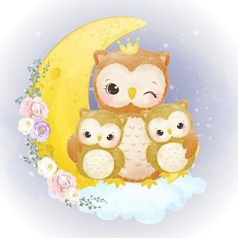 Mamma sveglia e gufi del bambino insieme nell'illustrazione dell'acquerello