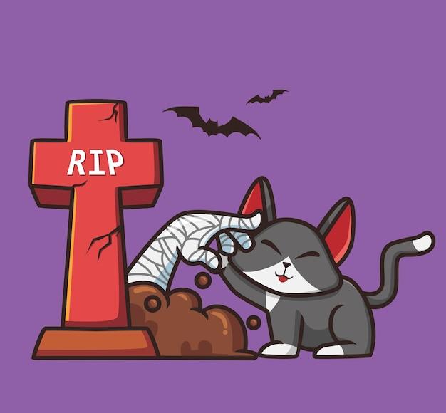 Mamma carina che gioca con un fumetto del cimitero di gatto concetto di evento di halloween illustrazione isolata