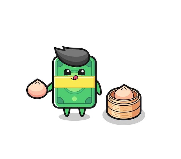 Simpatico personaggio di denaro che mangia panini al vapore, design in stile carino per maglietta, adesivo, elemento logo