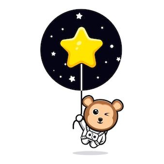 Simpatico astronauta scimmia che galleggia con la mascotte del fumetto del pallone della stella