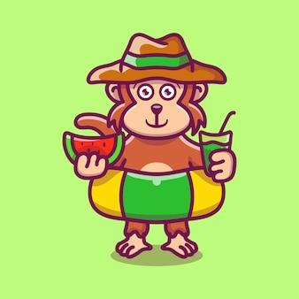 Simpatica scimmia con cappello da spiaggia con anelli da bagno che trasportano anguria e bevanda
