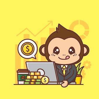 Illustrazione sveglia di concetto di affari della scimmia