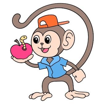 Scimmia carina che trasporta una mela con un bruco dentro, scarabocchiare disegnare kawaii. arte dell'illustrazione