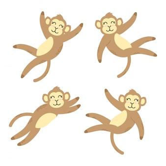Set di elementi di fumetto di scimmia sveglia