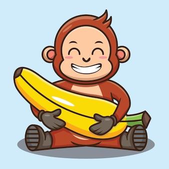 Simpatico cartone animato scimmia che tiene banana mentre è seduto disegno vettoriale