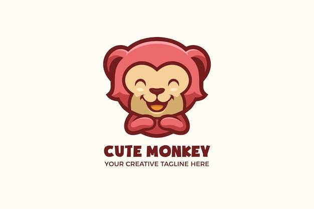 Modello di logo del personaggio della mascotte dei cartoni animati di scimmia carina
