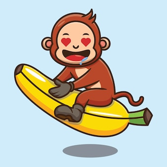 Simpatico cartone animato scimmia equitazione disegno vettoriale banana