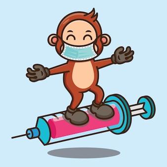 Simpatico cartone animato scimmia in piedi su sryinge che indossa un design maschera facciale