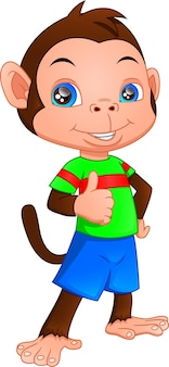 Simpatico cartone animato scimmia pollice in alto su uno sfondo bianco