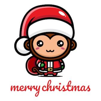 Simpatica scimmia che festeggia il natale