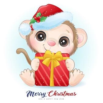 Scimmia carina per il giorno di natale con illustrazione dell'acquerello