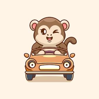 Simpatico cartone animato scimmia che guida l'auto
