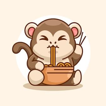 La scimmia carina mangia il fumetto di spaghetti ramen