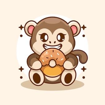 Simpatico cartone animato scimmia che mangia ciambella