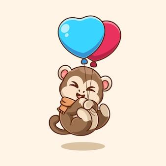 Scimmia carina che galleggia con cartone animato palloncino