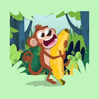 Simpatica scimmia felice e sbavando quando trasporta una grande banana