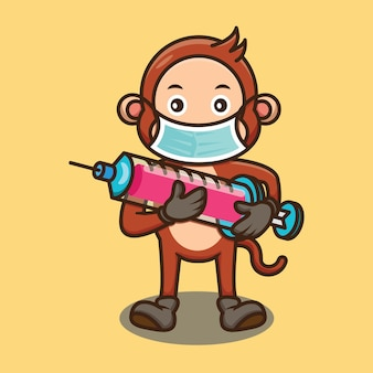 Simpatico disegno della siringa del vaccino della holding della scimmia