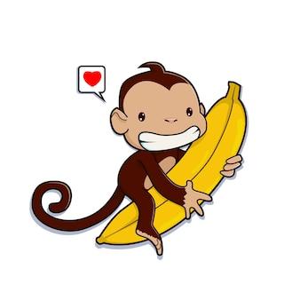 Scimmia carina che abbraccia un cartone animato di banana